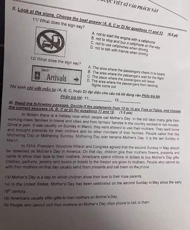 đề thi tuyển sinh vào lớp 10 môn Anh năm 2020 TPHCM trang 2