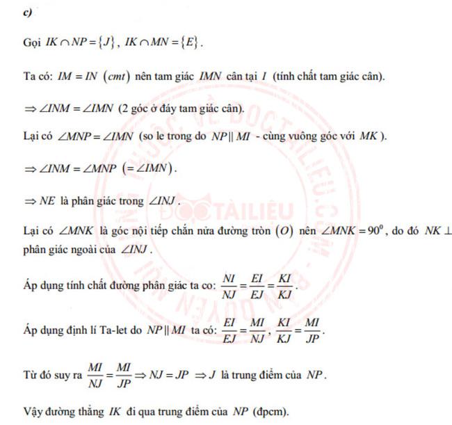 câu 4c đề thi tuyển sinh vào lớp 10 môn Toán năm 2020 Khánh Hòa