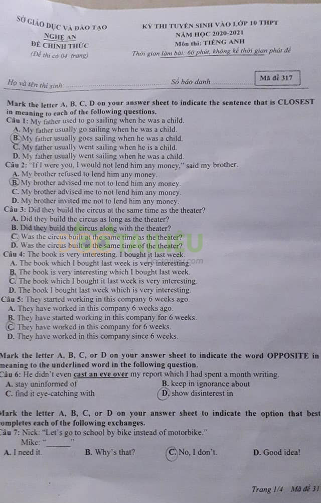 Đáp án đề thi tuyển sinh lớp 10 môn Anh Nghệ An năm 2020 trang 1