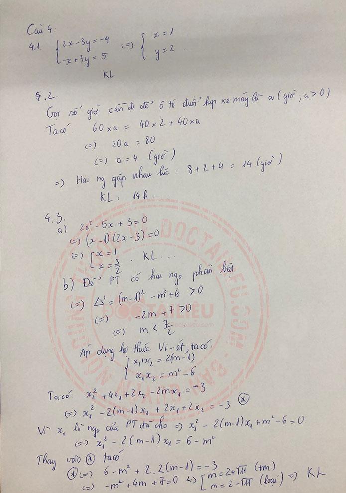 Đáp án đề thi tuyển sinh lớp 10 môn Toán Lào Cai năm 2020 câu 4