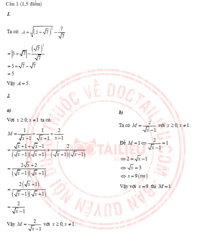 Đáp án đề thi tuyển sinh lớp 10 môn Toán Tiền Giang năm 2020 câu 1