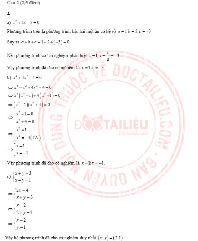 Đáp án đề thi tuyển sinh lớp 10 môn Toán Tiền Giang năm 2020 câu 2