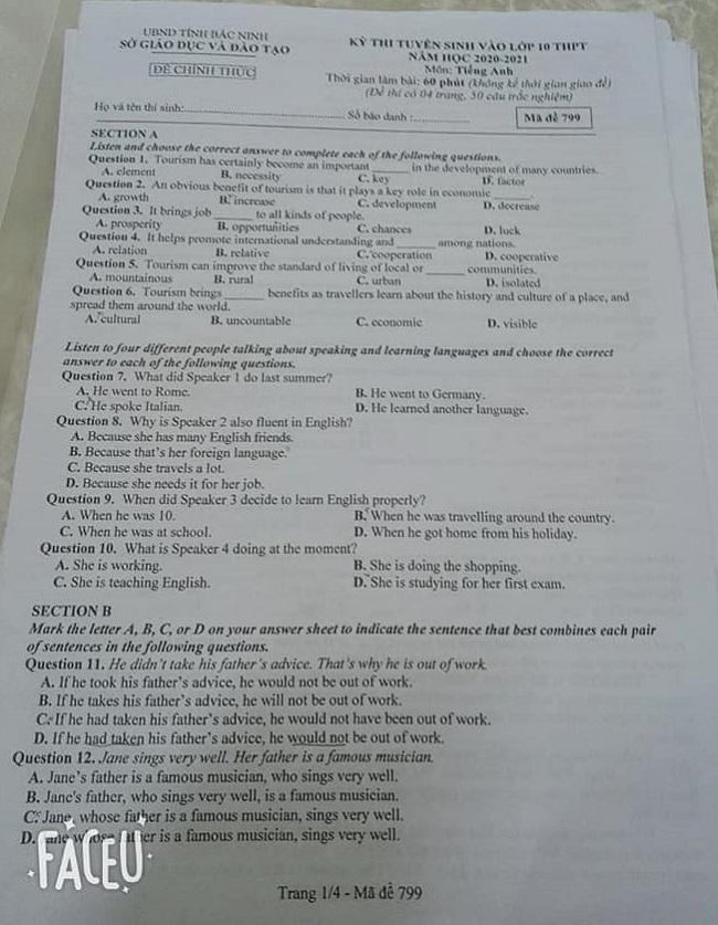 Đáp án đề thi tuyển sinh lớp 10 môn Anh Bắc Ninh năm 2020 trang 1
