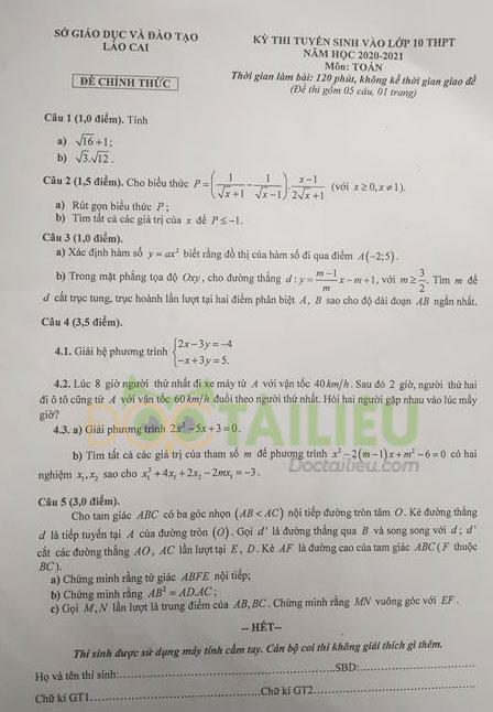 Đáp án đề thi tuyển sinh lớp 10 môn Toán Lào Cai năm 2020