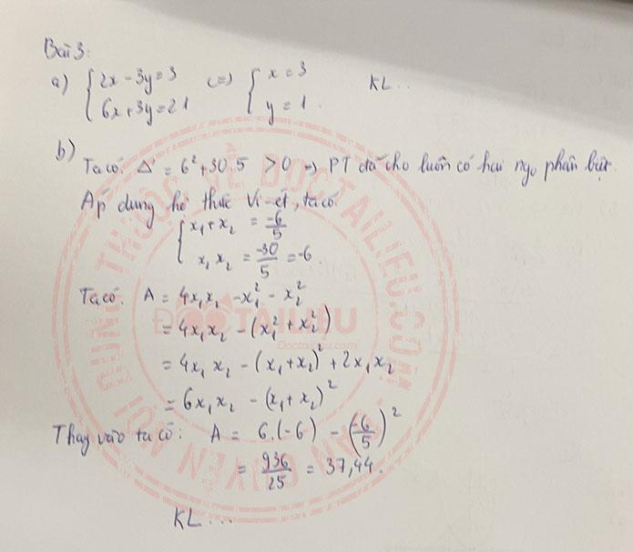 Đáp án đề thi tuyển sinh vào lớp 10 môn Toán Kiên Giang 2020 câu 3
