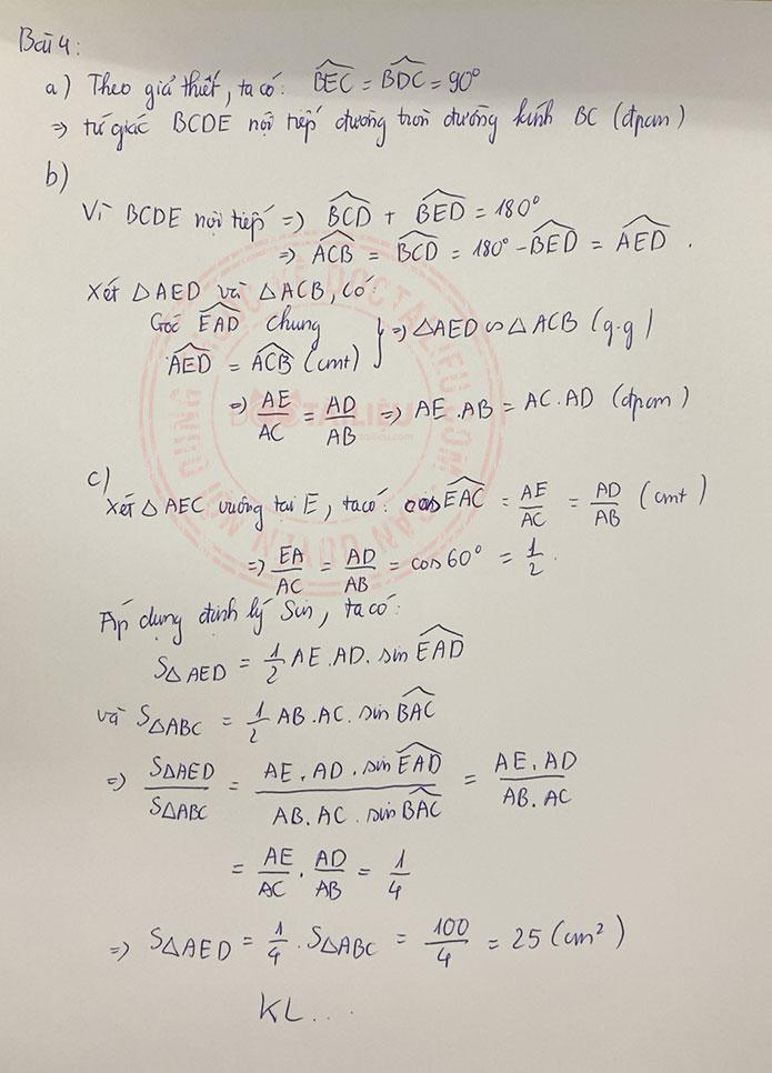 Đáp án đề thi tuyển sinh vào lớp 10 môn Toán Kiên Giang 2020 câu 4