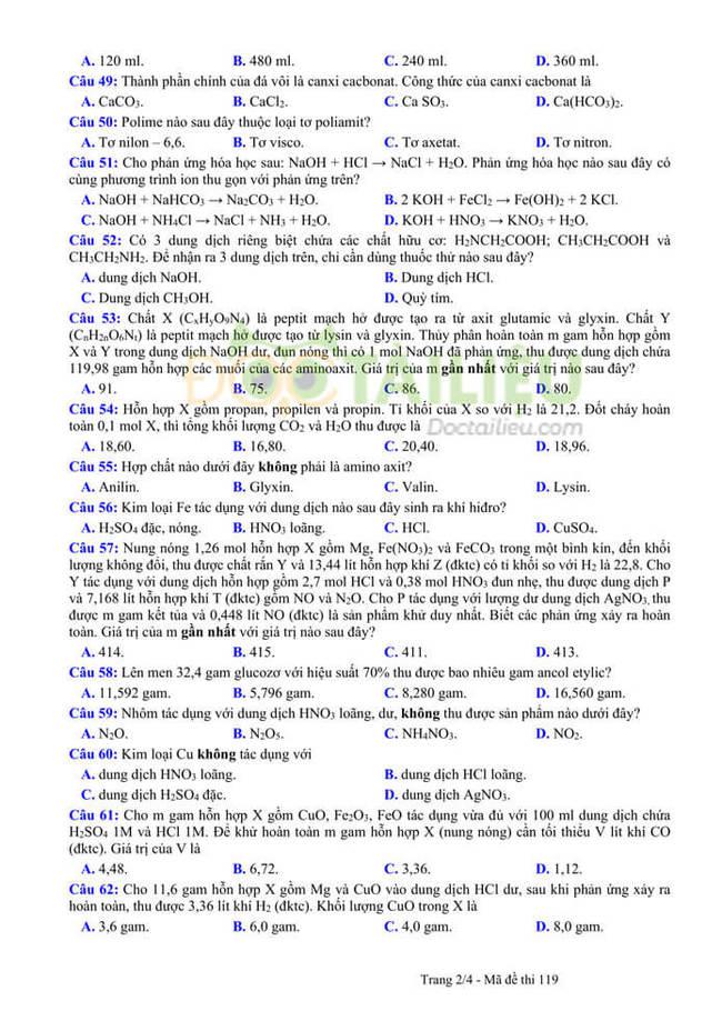 Đáp án đề thi thử tốt nghiệp THPT 2020 môn Hoá THPT Quang Hà lần 3 trang 2