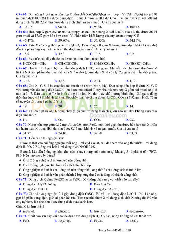 Đáp án đề thi thử tốt nghiệp THPT 2020 môn Hoá THPT Quang Hà lần 3 trang 3