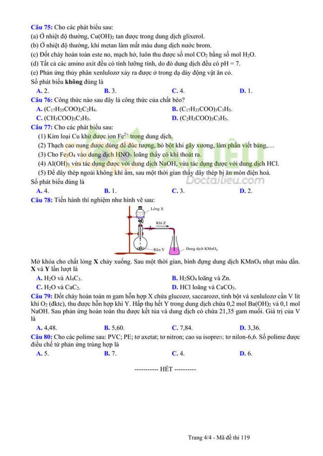 Đáp án đề thi thử tốt nghiệp THPT 2020 môn Hoá THPT Quang Hà lần 3 trang 4