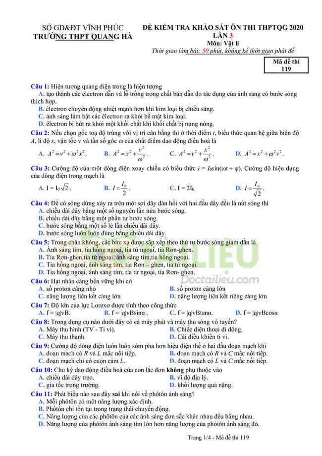 Đáp án đề thi thử tốt nghiệp THPT 2020 môn Lý THPT Quang Hà lần 3 trang 1
