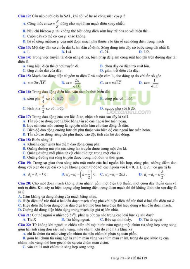 Đáp án đề thi thử tốt nghiệp THPT 2020 môn Lý THPT Quang Hà lần 3 trang 2