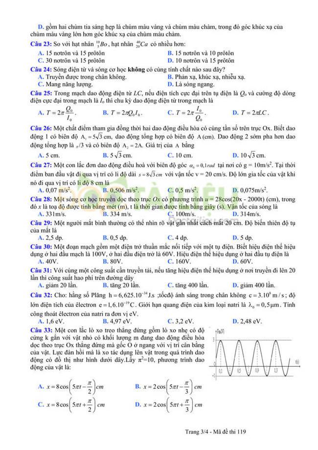 Đáp án đề thi thử tốt nghiệp THPT 2020 môn Lý THPT Quang Hà lần 3 trang 3