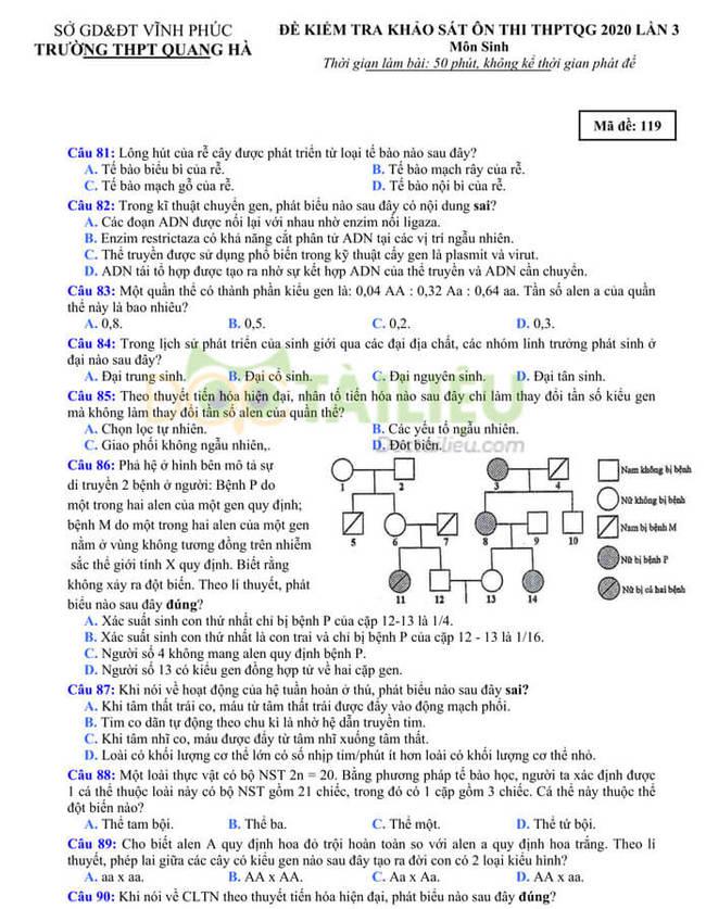 Đề thi thử tốt nghiệp THPT 2020 môn Sinh có đáp án của trường THPT Quang Hà lần 3 trang 1