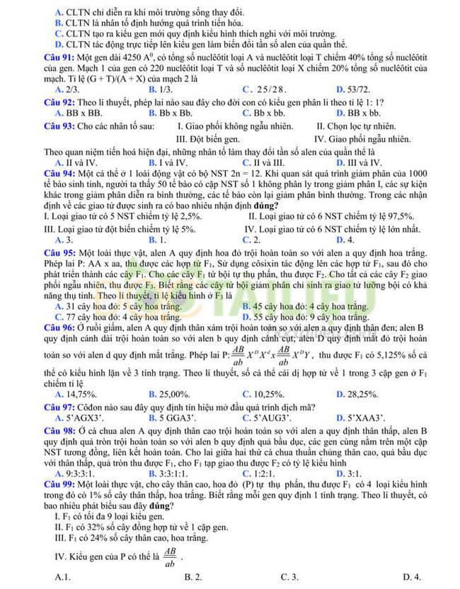 Đề thi thử tốt nghiệp THPT 2020 môn Sinh có đáp án của trường THPT Quang Hà lần 3 trang 2