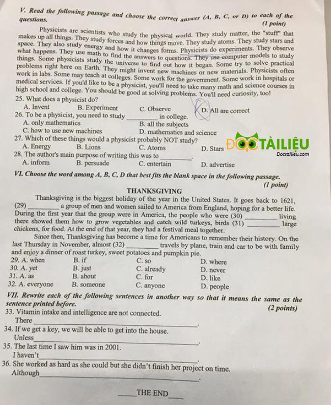 Đề thi tuyển sinh vào lớp 10 môn Anh Phú Yên  năm 2020 trang 2