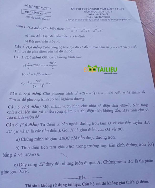 đề thi tuyển sinh lớp 10 môn Toán Sơn La năm 2020