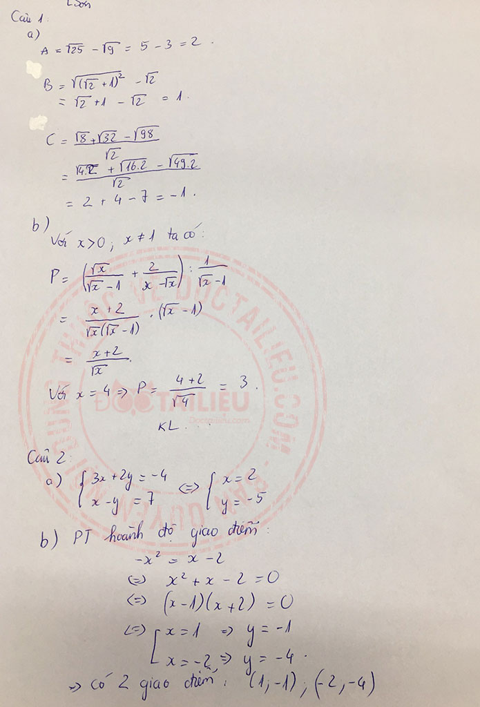Đáp án đề thi tuyển sinh lớp 10 môn Toán Lạng Sơn 2020 câu 1-2