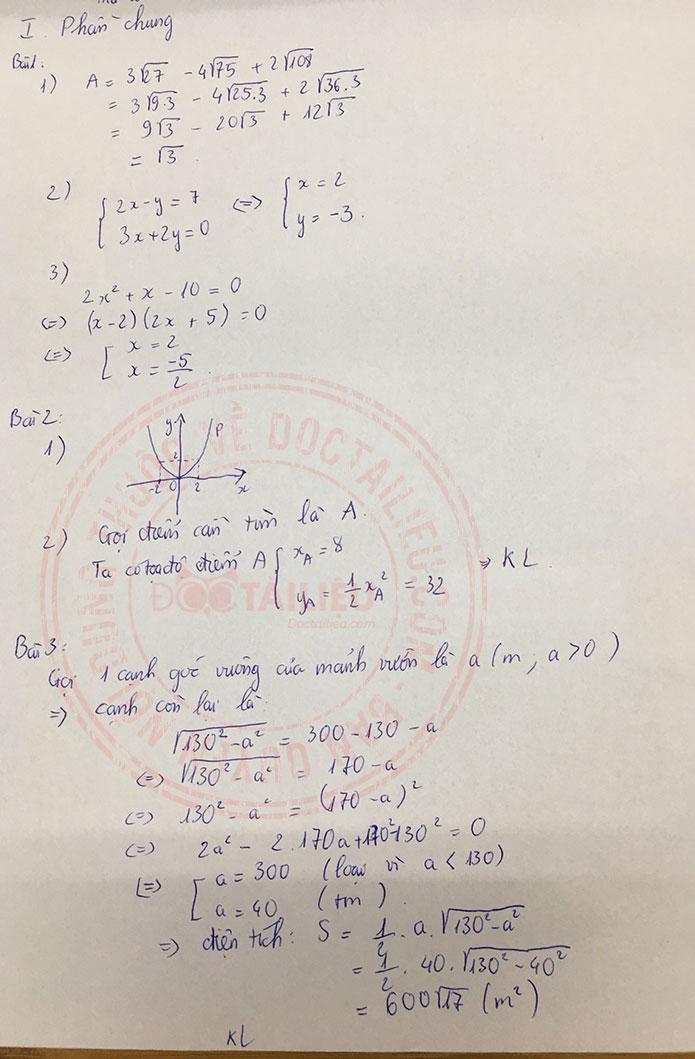 Đáp án đề thi tuyển sinh lớp 10 môn Toán Trà Vinh 2020 câu 1-3