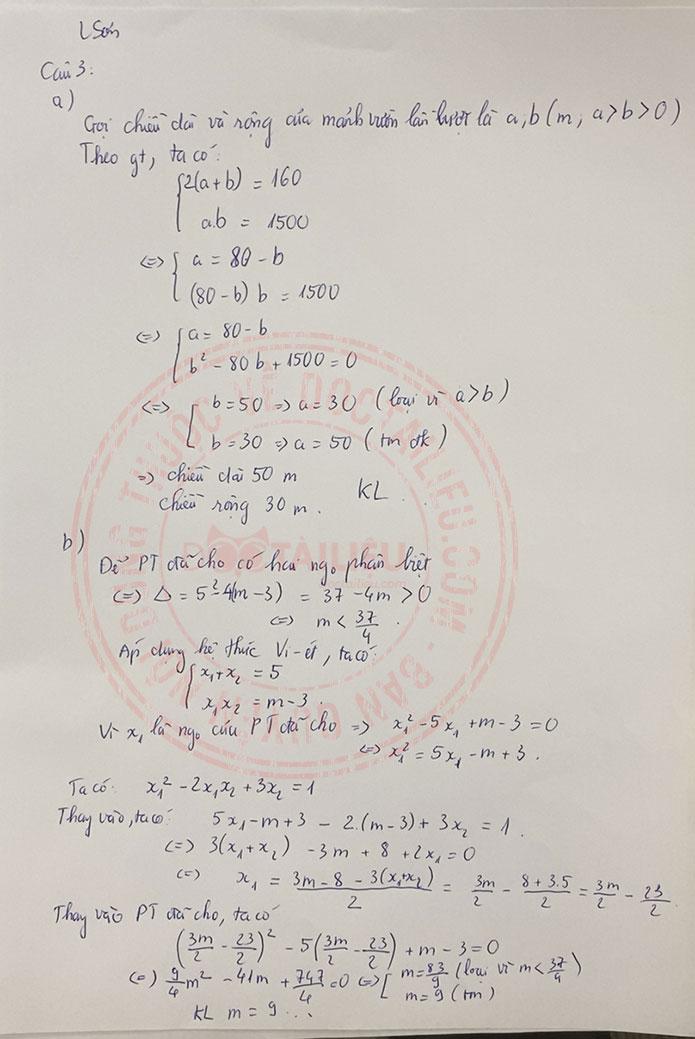 Đáp án đề thi tuyển sinh lớp 10 môn Toán Lạng Sơn 2020 câu 3