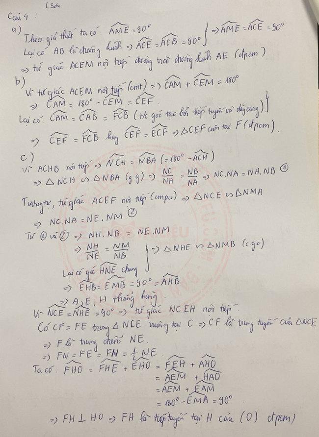 Đáp án đề thi tuyển sinh lớp 10 môn Toán Lạng Sơn 2020 câu 4