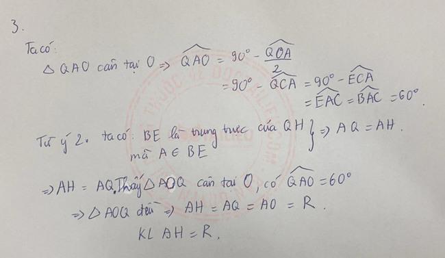 Đáp án đề thi vào lớp 10 môn Toán Nam Định 2020 câu 4 ý 2