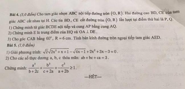 đề thi vào lớp 10 môn Toán Nam Định 2020 trang 2