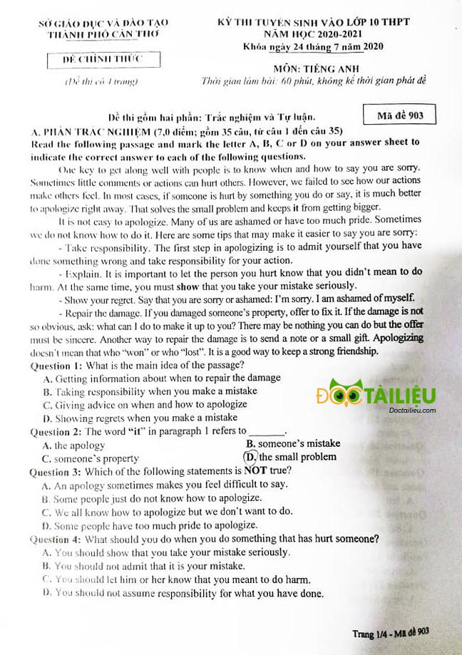 đề thi tuyển sinh lớp 10 môn Anh Cần Thơ 2020 trang 1