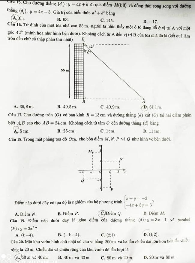 đề thi vào lớp 10 môn Toán Cần Thơ năm 2020 mã 722 trang 3