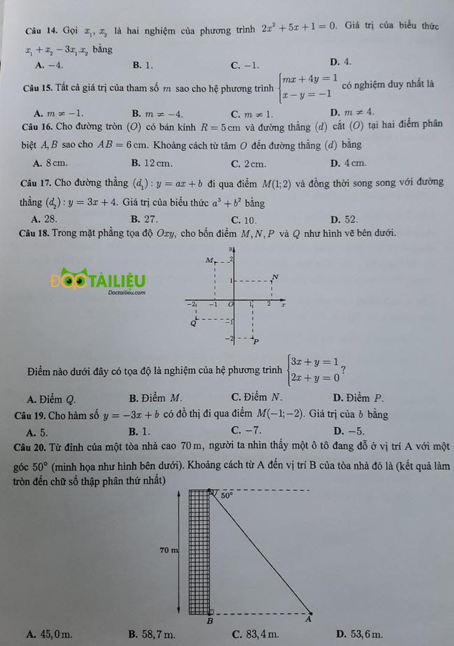 đề thi vào lớp 10 môn Toán Cần Thơ năm 2020 trang 3