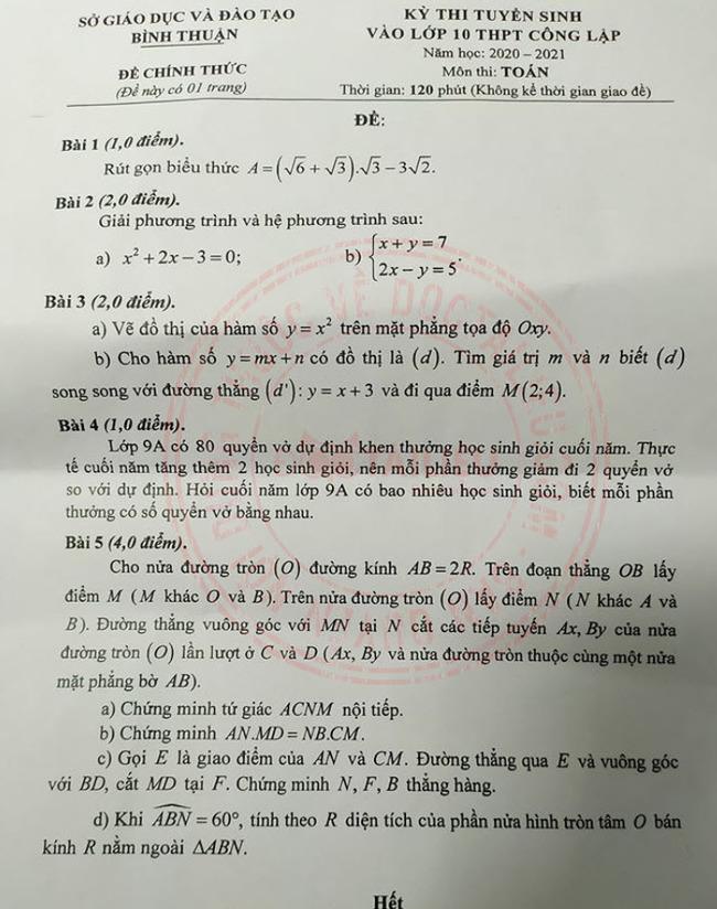 đề thi Toán tuyển sinh lớp 10 Bình Thuận 2020