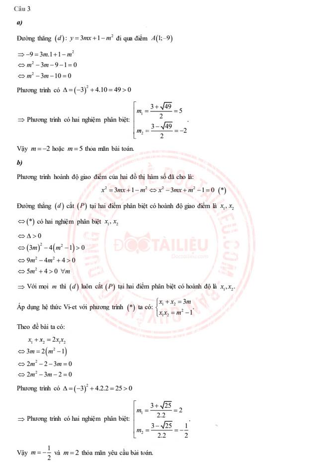 Đáp án Toán tuyển sinh lớp 10 Thái Bình năm 2020 câu 3