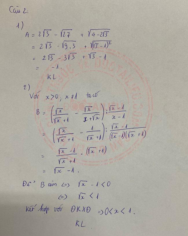 Đáp án đề thi môn Toán vào lớp 10 Hà Nam 2020 câu 2