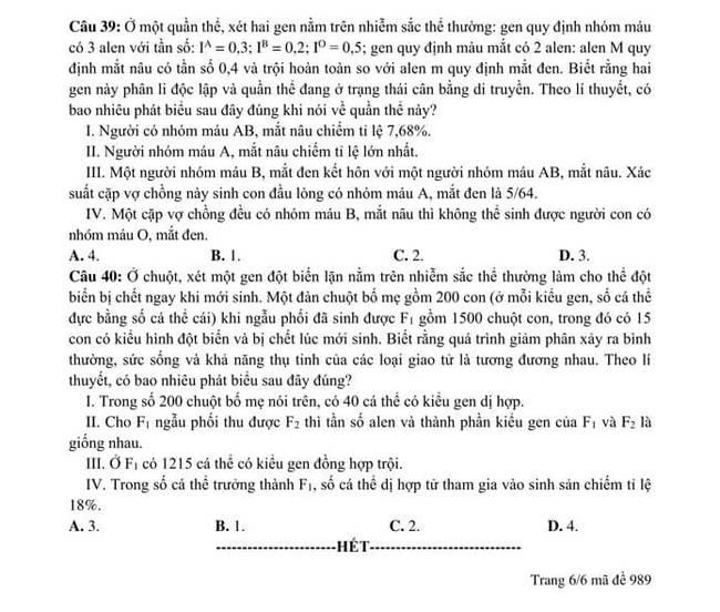 đề thi thử tốt nghiệp THPT 2020 môn Sinh trường ĐHQGHN lần 2 trang 6