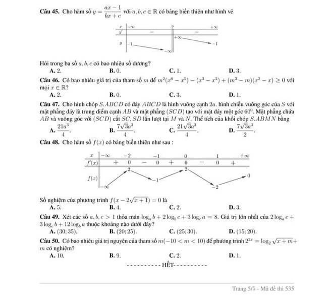 Đề thi thử tốt nghiệp THPT 2020 môn Toán của trường ĐHQGHN trang 5