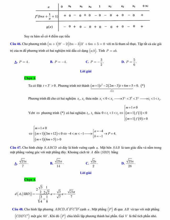 Đáp án đề thi thử tốt nghiệp THPT 2020 môn Toán trường THPT Yên Phong 1 lần 3 trang 7