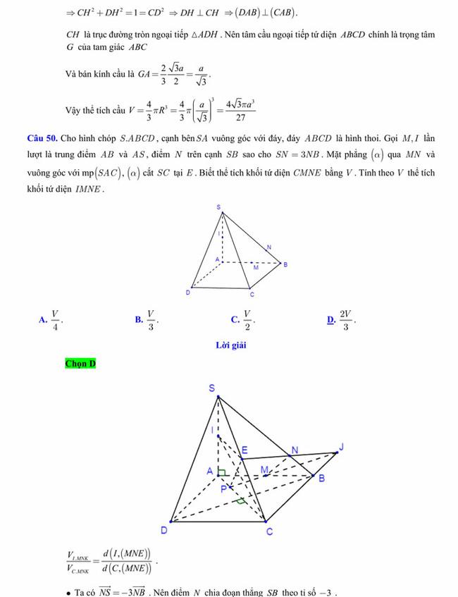 Đáp án đề thi thử tốt nghiệp THPT 2020 môn Toán trường THPT Yên Phong 1 lần 3 trang 9