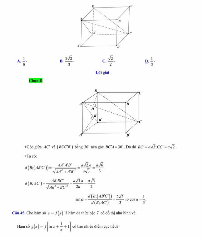 Đáp án đề thi thử tốt nghiệp THPT 2020 môn Toán trường THPT Yên Phong 1 lần 3 trang 11
