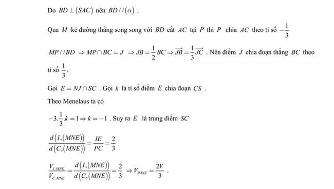 Đáp án đề thi thử tốt nghiệp THPT 2020 môn Toán trường THPT Yên Phong 1 lần 3 trang 10