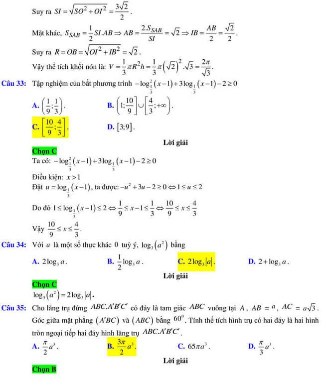 Đáp án đề thi thử tốt nghiệp THPT 2020 môn Toán trường Quốc học Quy Nhơn trang 9