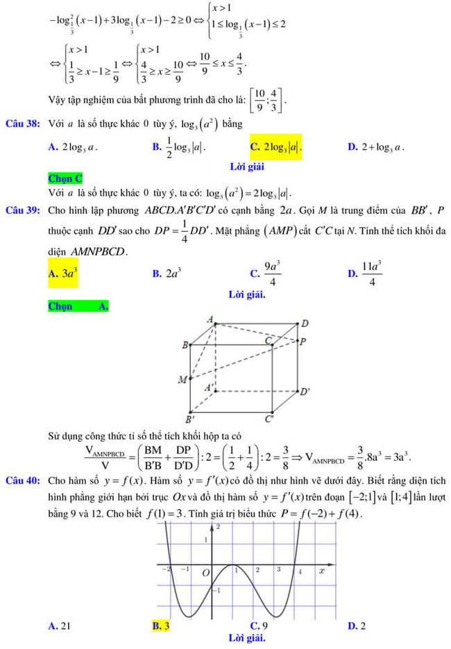 Đáp án đề thi thử tốt nghiệp THPT 2020 môn Toán trường Quốc học Quy Nhơn trang 11