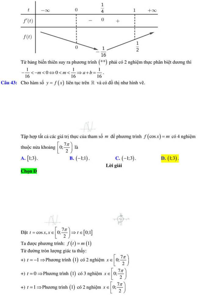 Đáp án đề thi thử tốt nghiệp THPT 2020 môn Toán trường Quốc học Quy Nhơn trang 14