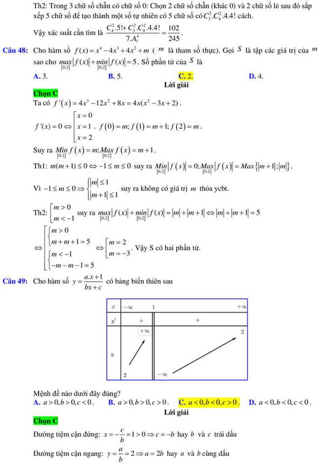 Đáp án đề thi thử tốt nghiệp THPT 2020 môn Toán trường Quốc học Quy Nhơn trang 18