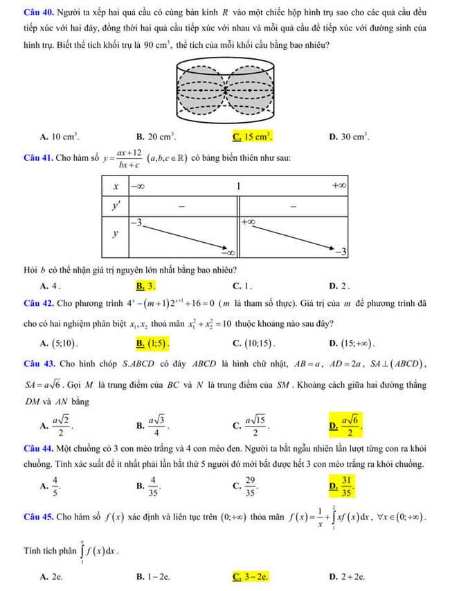 đề thi thử tốt nghiệp THPT 2020 môn Toán trường THPT Cổ Loa trang 5