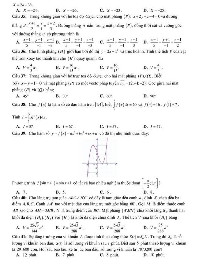 đề thi thử ToánTHPTQG 2020 của trường THPT Yên Phong 1(mã 501) trang 4