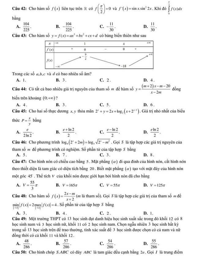 đề thi thử ToánTHPTQG 2020 của trường THPT Yên Phong 1(mã 501) trang 5