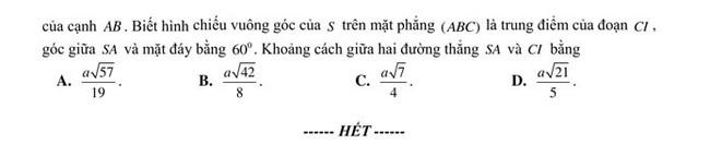 đề thi thử ToánTHPTQG 2020 của trường THPT Yên Phong 1(mã 501) trang 6
