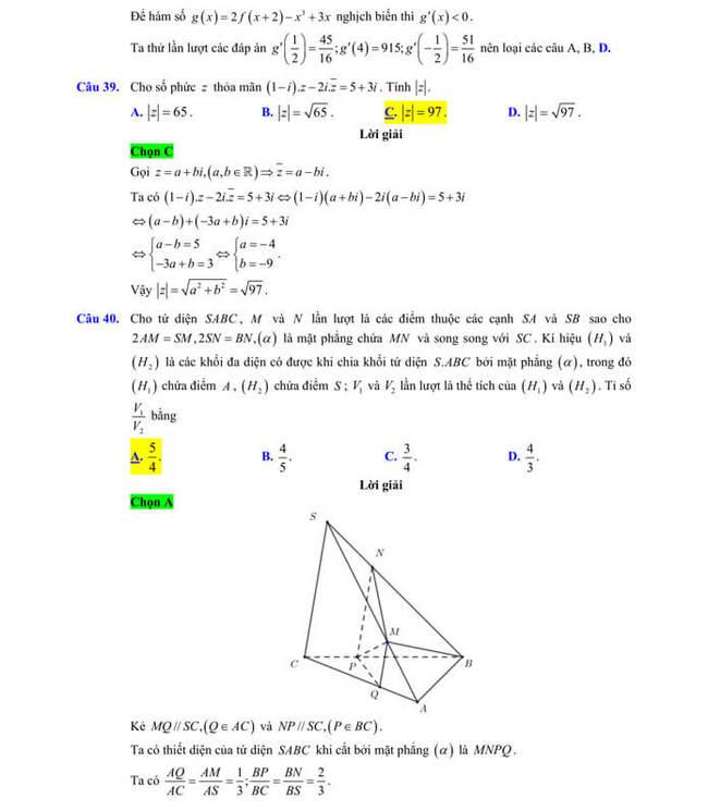 Đáp án chi tiêt đề thi thử tốt nghiệp THPT 2020 môn Toán sở GD & ĐT Lạng Sơn trang 12