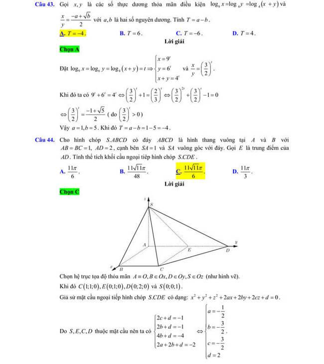 Đáp án chi tiêt đề thi thử tốt nghiệp THPT 2020 môn Toán sở GD & ĐT Lạng Sơn trang 14