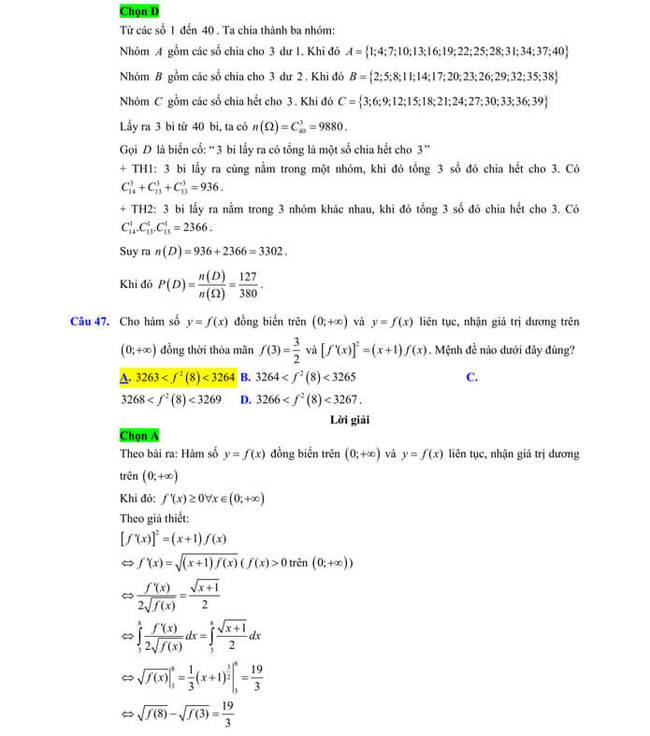 Đáp án chi tiêt đề thi thử tốt nghiệp THPT 2020 môn Toán sở GD & ĐT Lạng Sơn trang 16