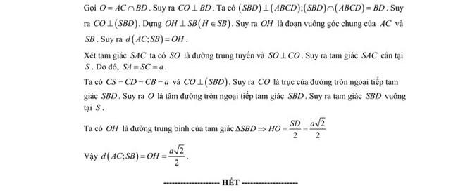 Đáp án chi tiêt đề thi thử tốt nghiệp THPT 2020 môn Toán sở GD & ĐT Lạng Sơn trang 19